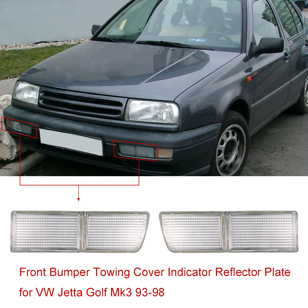 Pair of front bumper towing cover indicator reflector plate for vw jetta golf mk3 1993