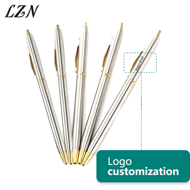 LZN Stainless steel rod rotating Metal ballpoint <font><b>Pen</b></font> Office Stationery Free <font><b>Engraved</b></font> Text/Logo for Employee & Customer <font><b>Gifts</b></font> image