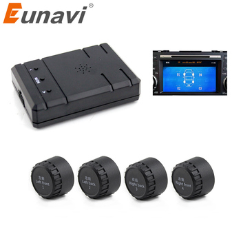 Eunavi Smart Car TPMS Tyre Pressure System Auto Security Alarm Systems for Car DVD video in external sensors