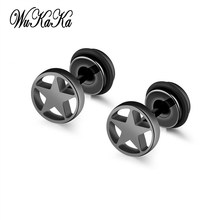 Wukaka Star Stainless Steel Men Earrings For Boy 2018 Personality Jewelry Drop Shipping Cool Decoration