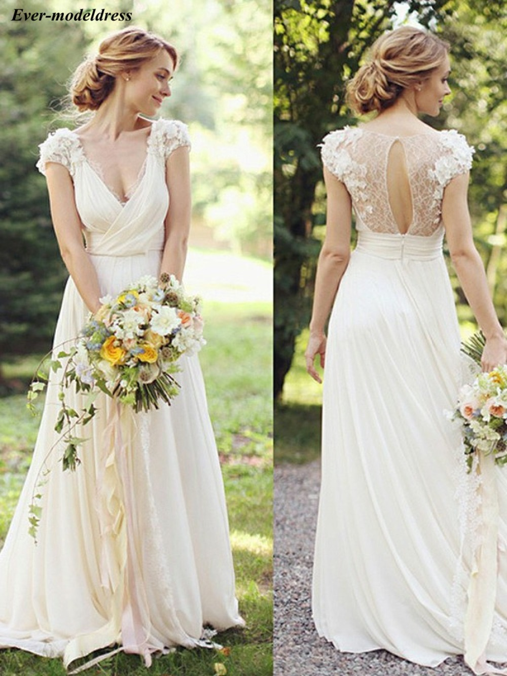 Country Wedding Dresses Boho Chiffon Lace 3D Flowers Floor Length Deep V-Neck Open Back Sexy Bridal Gowns Robe De Mariee Cheap