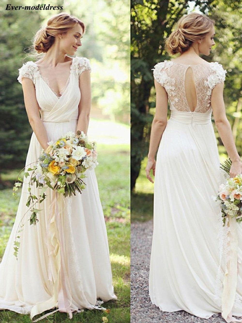 Country Wedding Dresses Boho Chiffon Lace 3D Flowers Floor Length Deep V-Neck Open Back Sexy Bridal Gowns Robe De Mariee Cheap