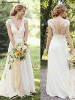 Country Wedding Dresses Boho Chiffon Lace 3D Flowers Floor Length Deep V Neck Open Back Sexy Bridal Gowns Robe De Mariee Cheap