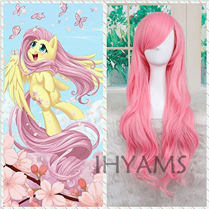 My Little Pony Fluttershy Wig Halloween Pink Wig Party Cosplay Wig Fluttershy Costume + Wig Cap