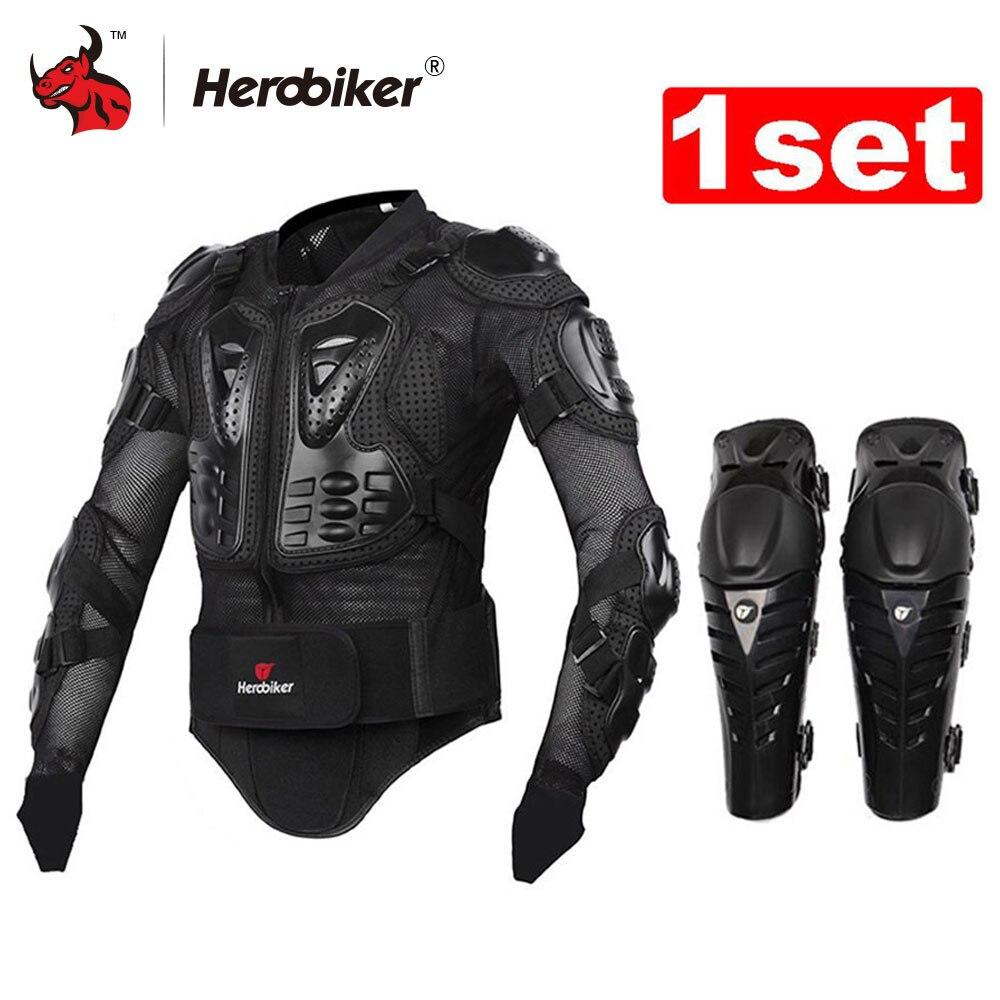 HEROBIKER Moto Giacca Giacca Moto Del Corpo Armatura Protettiva Giacca + Protezione Del Motociclo Ginocchio Pad Kit Vestiti Motocross Armatura