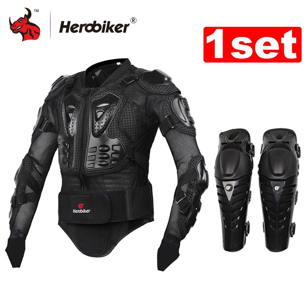 HEROBIKER Motorcycle Jacket Motorcycle Body Armor Protective Jacket+ Protective Motorcycle Knee Pad Kits Suits Motocross Armor herobiker armor removable neck protection guards riding skating motorcycle racing protective gear full body armor protectors