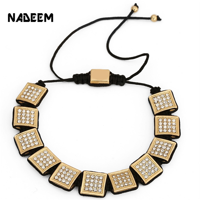 NADEEM Famous Brand High Quality Mens Zirconia Copper Beads Bracelets Micro Pave White CZ Square Charm Macrame Braiding Bracelet new anil arjandas macrame bracelets 18pcs rose gold micro pave black cz stoppers beads braiding macrame bracelet for men jewelry