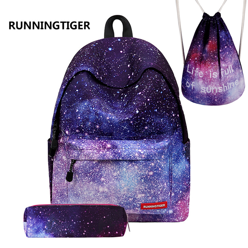 Runningtiger Woman Backpack Girls School Bags Printing Backpack Mochila Escolar Backpacks For Teenage Girls 3pcs Sets Mochila