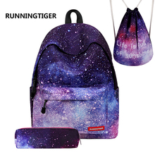 RUNNINGTIGER Woman Backpack Girls School Bags Printing Backpack Mochila Escolar Backpacks For Teenage Girls 3Pcs Sets Mochila недорого