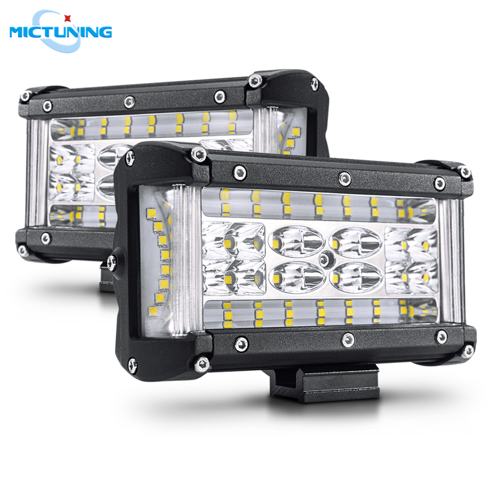 MICTUNING 5 4 Dual Side Shooter Pods Automotive LED Work Light Bar Spot Flood Combo Front