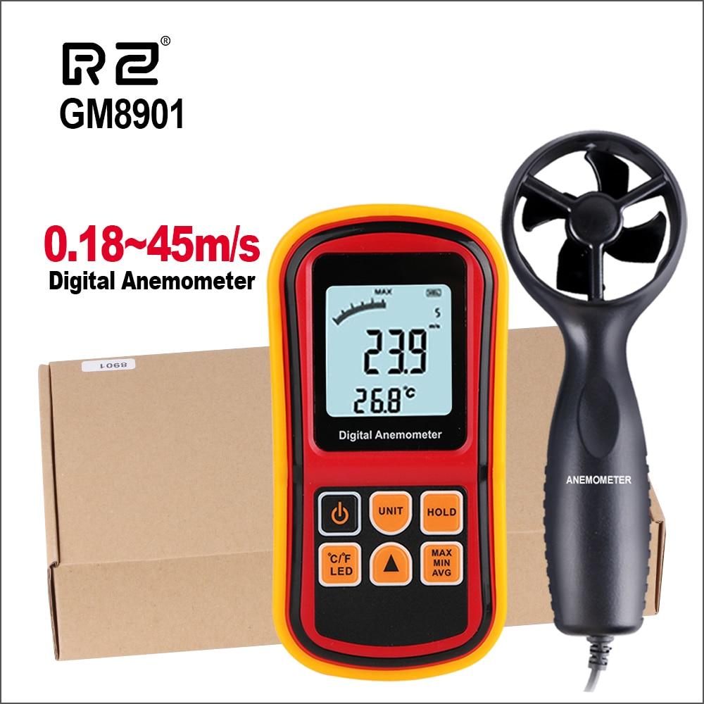 RZ Скорость измерительный прибор GM8901 45 м/с Anemometro ЖК-дисплей Дисплей цифровой анемометр ветер метр скорости воздуха Температура метр