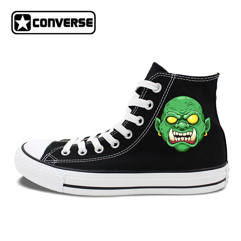 Creepy Green Face Monster High Top Converse Chuck Taylor Skateboarding Shoes Original Design Black White Canvas Sneakers