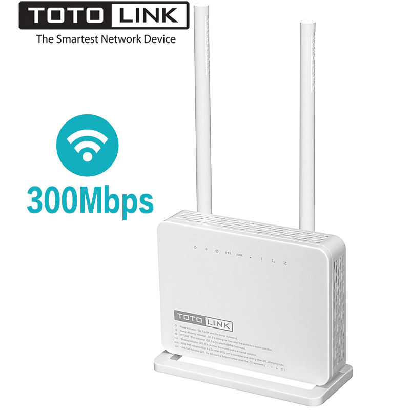TOTOLINK ND300 300 Mbps Wireless ADSL 2/2 + Modem Router Wifi, wi-fi Ripetitore/Modem/AP/4-port Interruttore in Uno, Portoghese Del Firmware