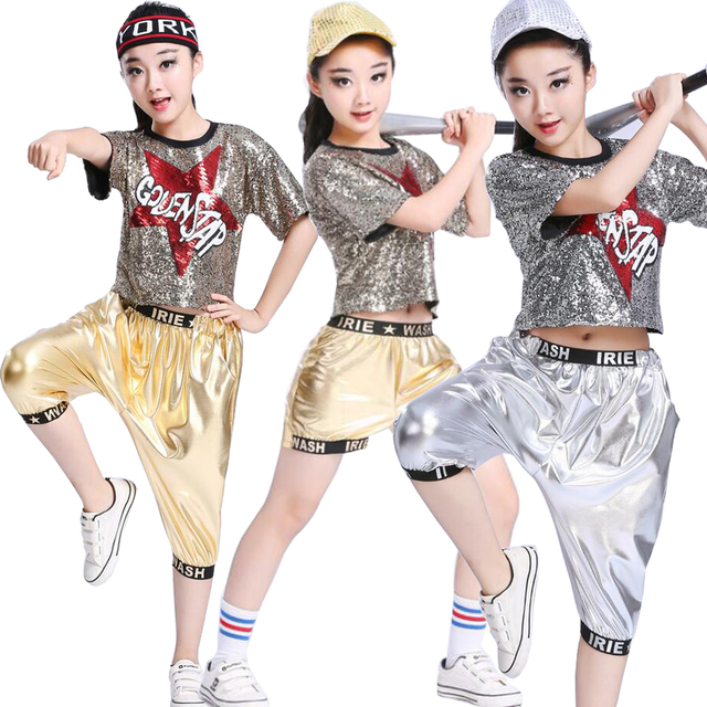 eb247202c Girl Sequined Gold Sliver Ballroom Dance Tops Pants Competition ...