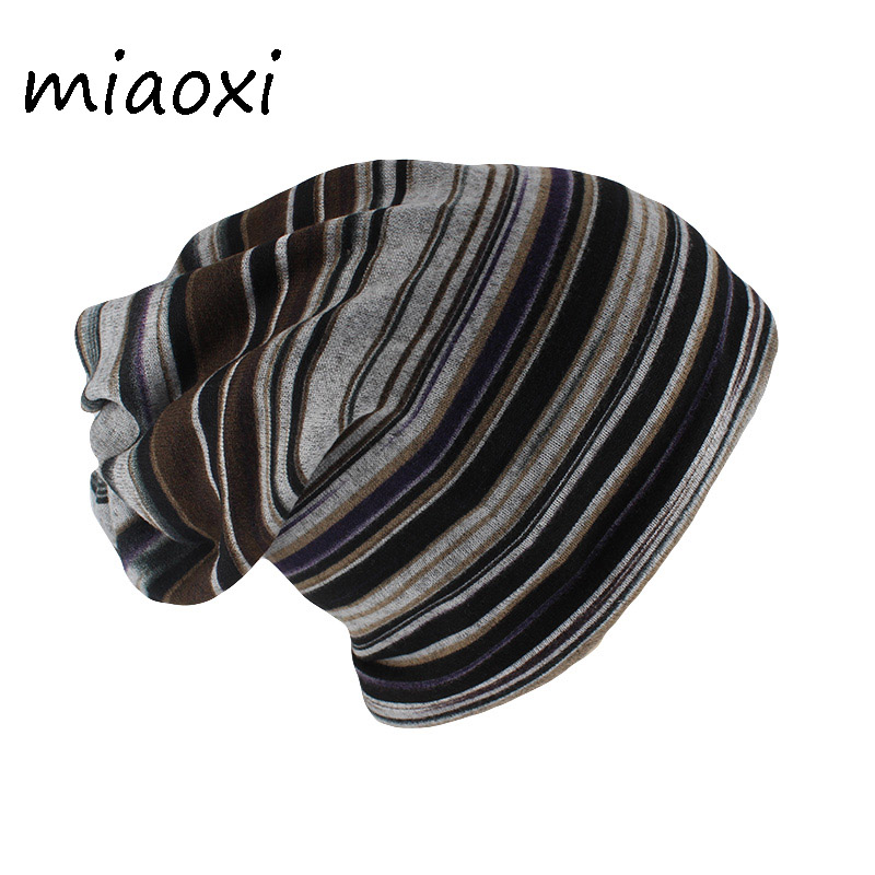 miaoxi New Arrival Fashion Autumn Women   Beanies     Skullies   Striped Hat Scarf Two Used Female Warm Bone Adult Hip Hop Casual Caps