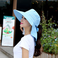 Мода Лица Шеи Защита Шляпа Солнца Женщин Летом Складной Анти-Уф Широкий Большой Брим Регулируемая Snapback Пляж Cap Chapeau Панама
