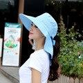 Fashion Face Neck Protection Sun Hat Women Summer Foldable Anti-UV Wide Big Brim Adjustable Snapback Beach Cap Panama Chapeau