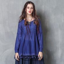 2019 Famous brand womens spring and summer new silk tassel ladies jacket Vintage embroidered long sleeve shirt women