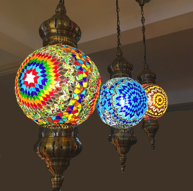 Turkish Moroccan Pendant Light Handmade Mosaic Stained
