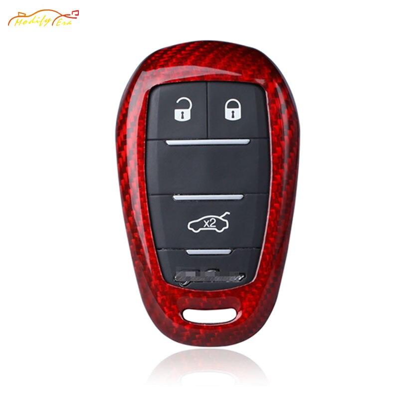 Red Carbon Fiber Key Covers For Alfa Romeo Giulia Stelvio