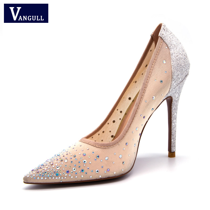 Vangull New silver bling fashion design women's high heel pumps summer see through Party Wedding stiletto shoes 11cm thin heels 2018 fashion design see through silver glitter shoes pointed toe low heels lace mesh pumps wedding shoes