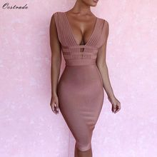 Ocstrade New Arrival Bandage Dress 2018 Sexy Camel Plunge Deep v Neck Bodycon Dress Cut Out Bandage Dress Rayon High Quality