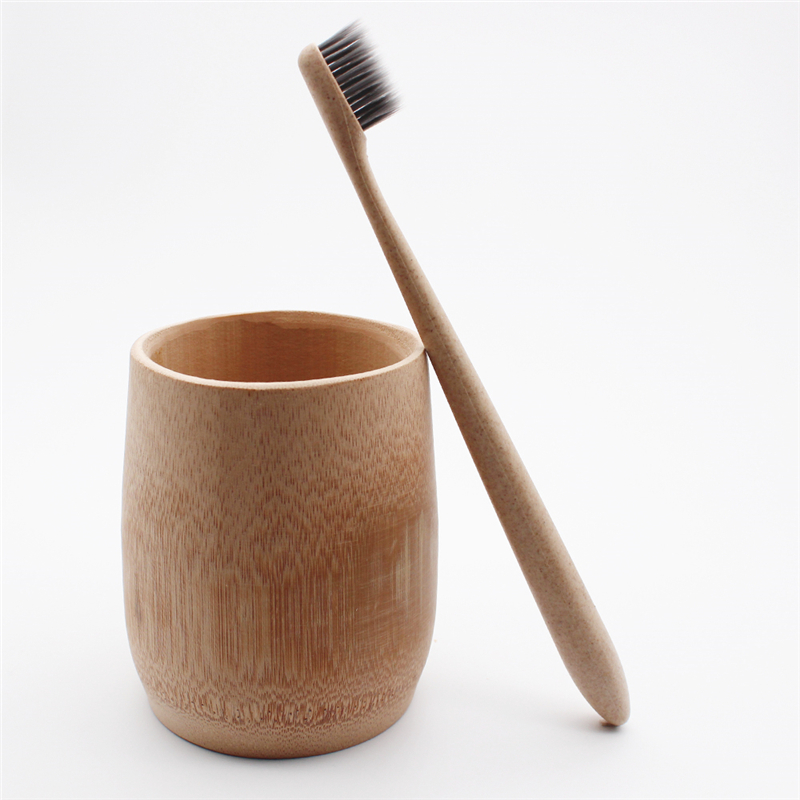 Portable Travel Toothbrush Japanese Style Toothbrush Soft Bamboo Charcoal Wheat Khaki Stalk Care antibacterial Toothbrush image