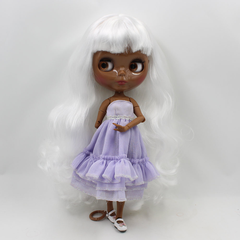 Neo Blythe Doll with White Hair, Black skin, Shiny Face & Jointed Body 4