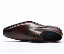 QYFCIOUFU Luxury Designer Formal Men Dress Shoes Genuine Leather Classic Brogue Shoes Flats Oxfords For Wedding Office Business