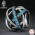 VOROCO Authentic 925 Sterling Silver Blue Zirconia DIY Charms Fit Pandora Bracelets & Bangles for Women Accessories PS331