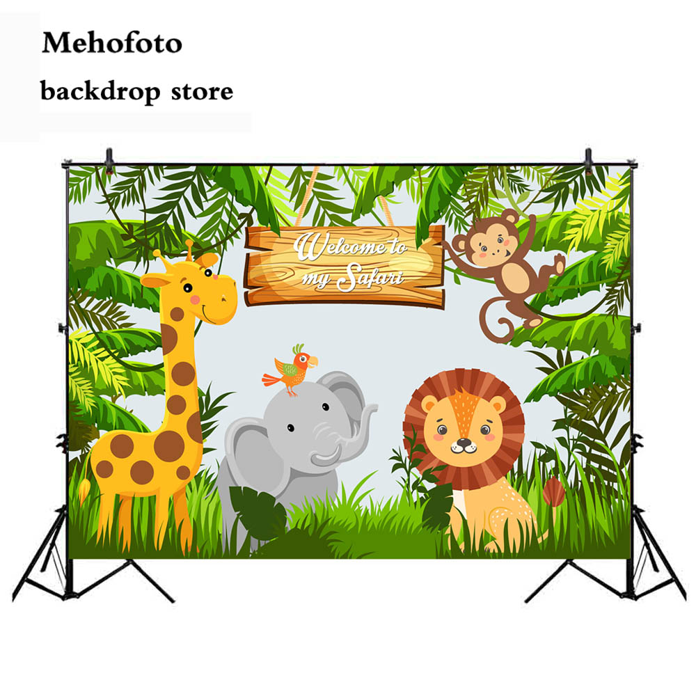 Mehofoto Jungle Safari Party Photo Backdrop Animals Forest Photography Background Happy Birthday Theme Party Decoration 944 стоимость
