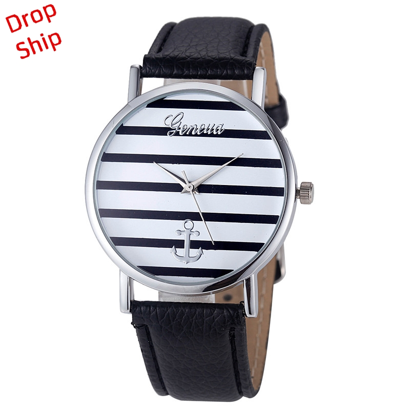 DROP SHIPPING Women Watch Africa style Unique Striped and Anchor Leather Quartz Wrist Watches Fashion best selling Feb5
