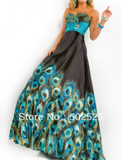 Printed Turquoise Colors Fabric 100% Beading Handwork Sweetheart Peacock Prom Dresses 2013 OL102121