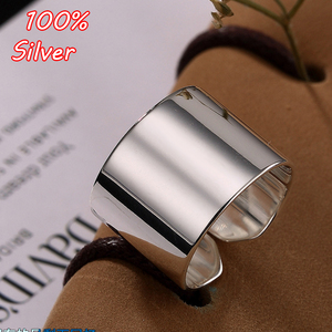 Image 1 - 2020 Hot Silver Color Simple Glossy Personality Fashion Wild Lady Open Ring For Man Woman Gift Wholesale