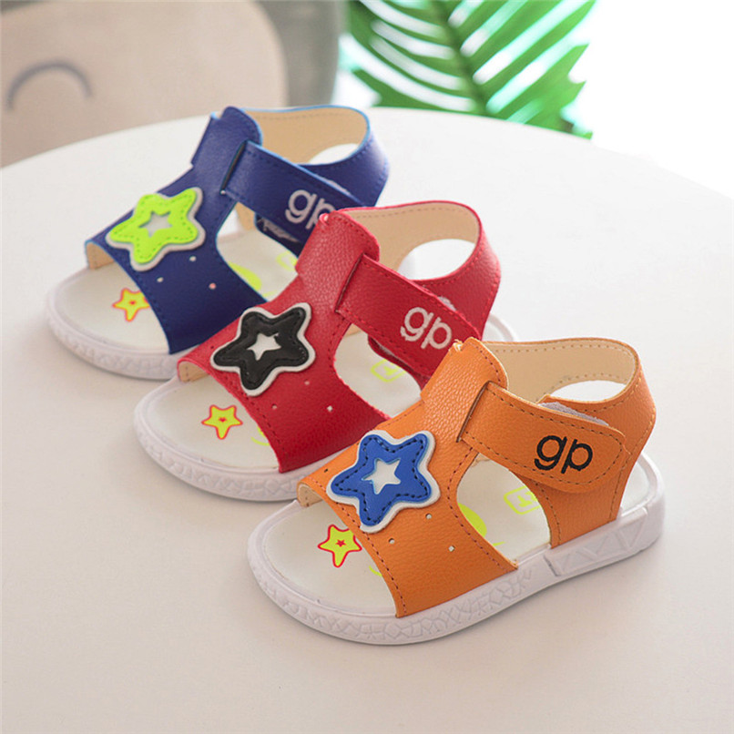 3 Color Summer Baby Shoes Toddler Baby Boys Star Print Roman Shoes Soft Sole Anti-slip Beach Sandals Baby Boy Sandals M8Y22