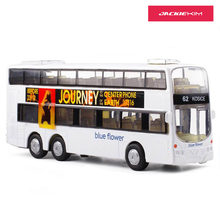 1:43 2-Floor London Double Decker Bus Model Toy Cars Alloy HongKong With Light Music Old-Fashion Car Toys For Kids Gifts(China)