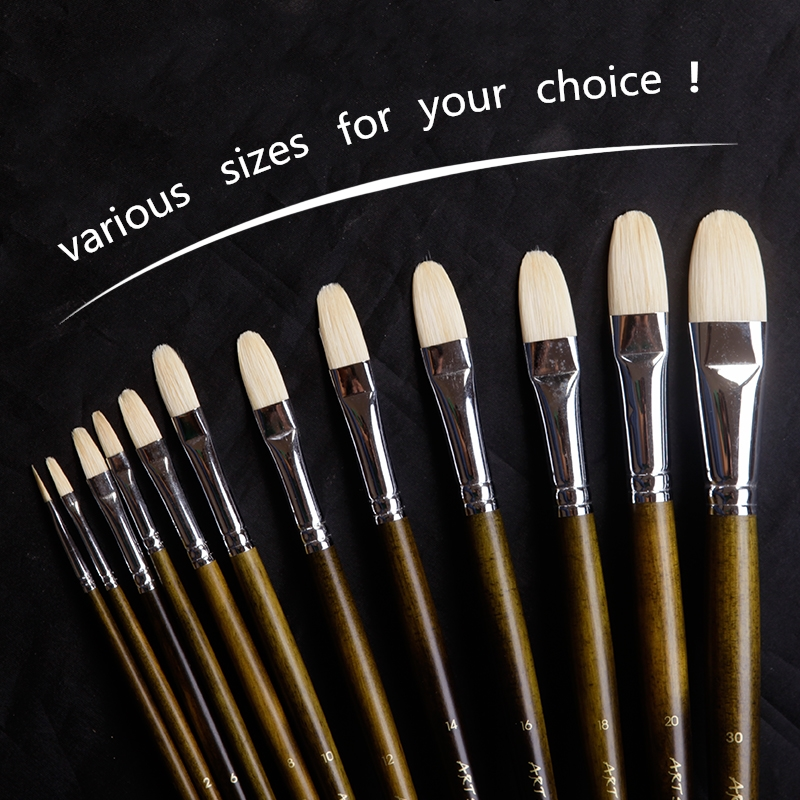 600A High Quality Hog Bristle Hair Wooden Handle Acrylic And Oil Brush