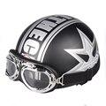 2016 Половина Мотоциклетные Шлемы открытый спорт мужчины и женщины черный Гонки На Мотоциклах Шлем + очки для мотокросса