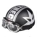 2016 Cascos De Motocicleta Medio deporte al aire libre hombre y mujer negro Motociclismo Casco + Gafas de motocross