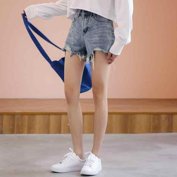 2019 nowych moda lato gorąca sprzedaż denim kobiet szorty wysokiej talii futro wyściełane nogawek Plus rozmiar sexy krótkie dżinsy DV104