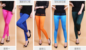 Image 5 - Female 100% real silk double faced long trousers candy silk legging slim pencil pants