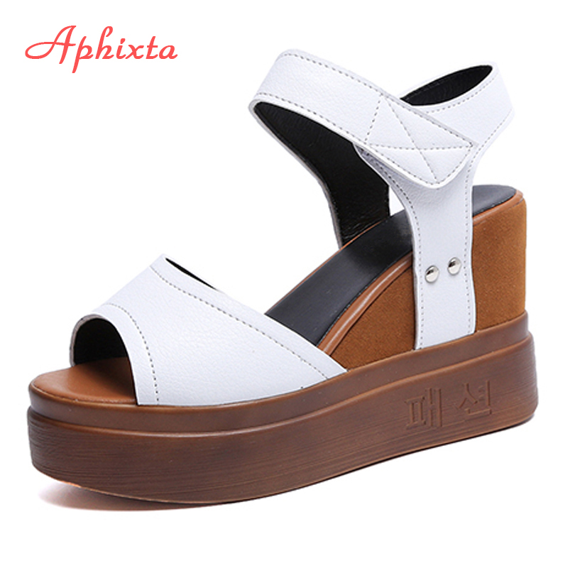 Aphixta Women Sandals Loop-Shoes Platform Waterproof Peep-Toe Summer Hook Super