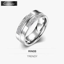 Geometric Design Ring,Casual Style 316L Titanuim Steel & Zirconia Fashion Jewelry For Women Dress Accessories,TIF TGR098-B