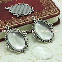 Sweet Bell 10 set Antique   Metal Alloy Cameo Flower 18*25mm Oval Pendant Cabochon Settings + Clear Glass Cabochons