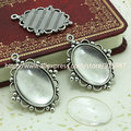 Sweet Bell 10 set Antique Silver Metal Alloy Cameo Flower 18*25mm Oval Pendant Cabochon Settings + Clear Glass Cabochons D003