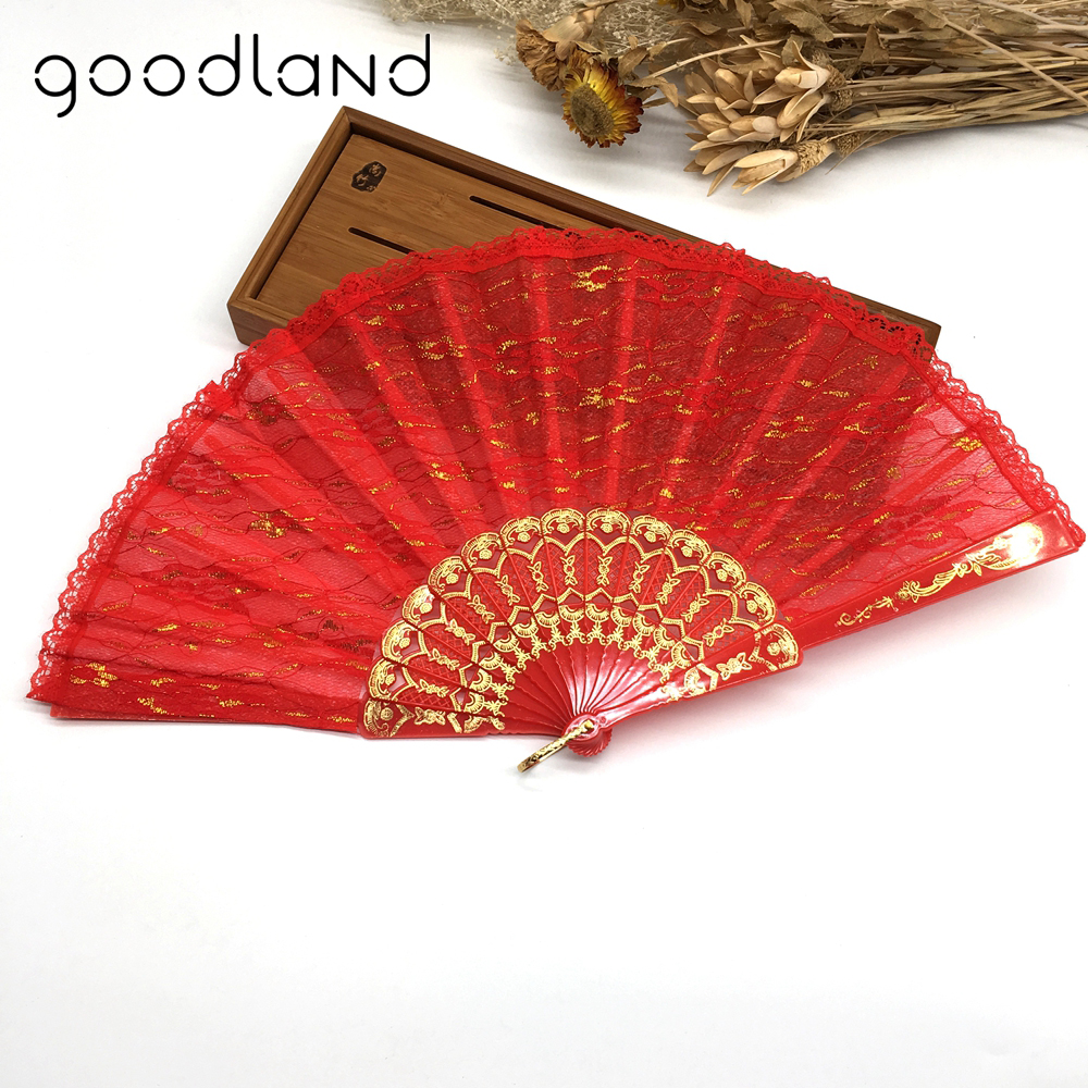 Free Shipping 10pcs Sequined Golden Lace Flower Decor Held Fans Tulle Dance Fans Party Supplies For