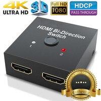 2018 HDMI 2.0 Би-направления smart коммутатор 2x1 1x2 Ultra HD 4 К двунаправленный HDMI 2.0 хаб переключатель HDCP 3D 1080 P 4 К HDMI адаптер