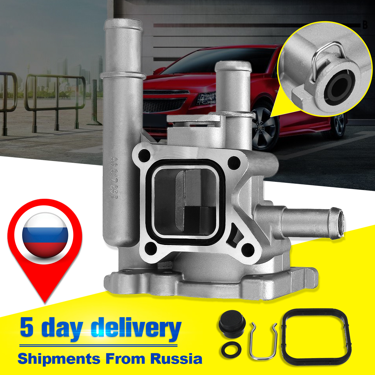 medium resolution of engine coolant thermostat with housing for alfa for chevrolet opel for vauxhall fiat 1338177 1999 2000