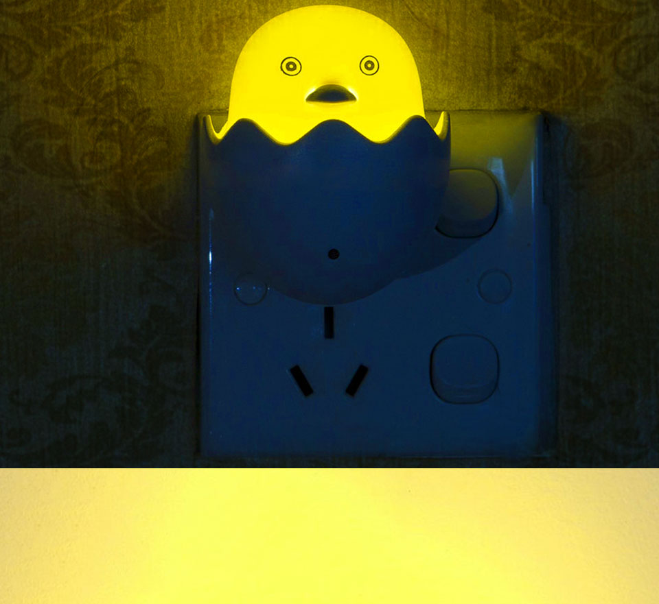 Lovely EUUS Plug Yellow Duck LED Night Light Lamp Wall Socket Light (6)