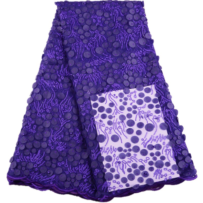 3 D Flowers African Laces Fabrics Beads Nigerian Laces Fabrics High Quality French Laces Fabrics For